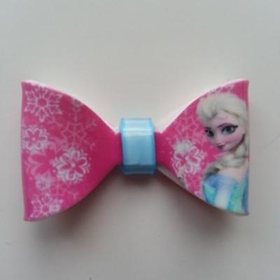 Noeud 3D en plastique  elsa reine des neiges rose   50*30mm