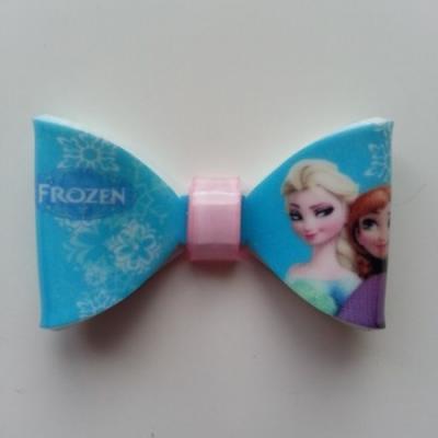 Noeud 3D en plastique  elsa reine des neiges bleu   50*30mm
