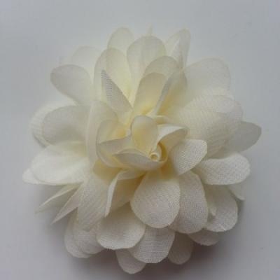 Applique fleur mousseline   75mm ivoire