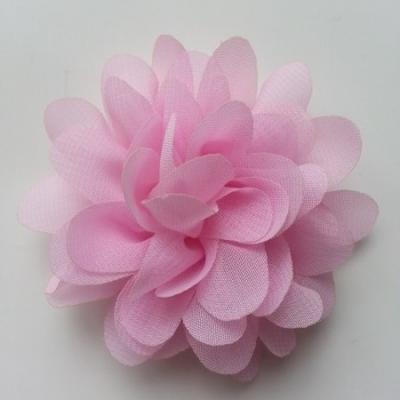 Applique fleur mousseline   75mm rose