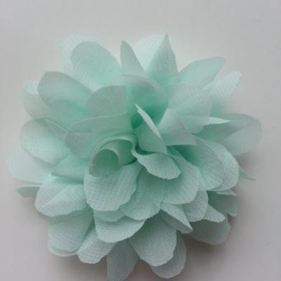 Applique fleur mousseline   75mm vert pastel
