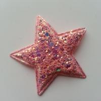 étoile matelassée pailletée pêche 50mm