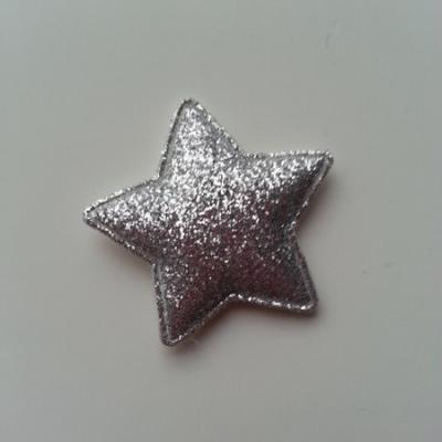 étoile matelassée pailletée  33mm argent