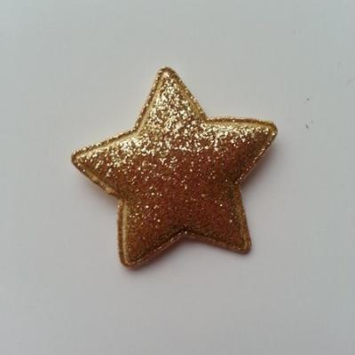 étoile matelassée pailletée  33mm doré, or