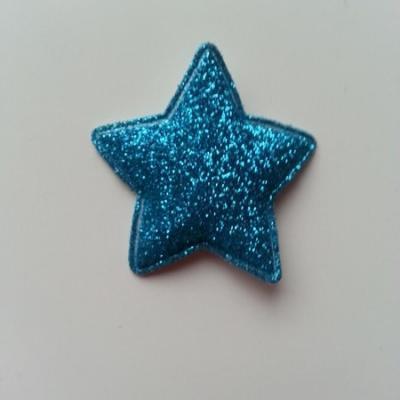 étoile matelassée pailletée  33mm bleu turquoise