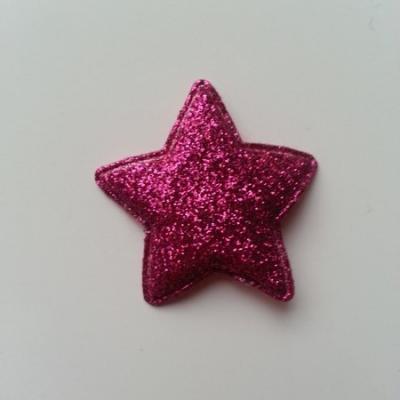 étoile matelassée pailletée  33mm rose fuchsia