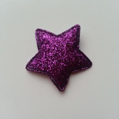 étoile matelassée pailletée  33mm violet