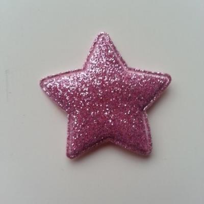 étoile matelassée pailletée  33mm rose