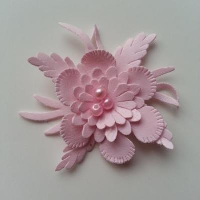 fleur en simili cuir  50mm rose