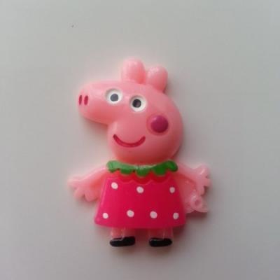 Cabochon en résine  cochon rose peppa pig 25*35mm