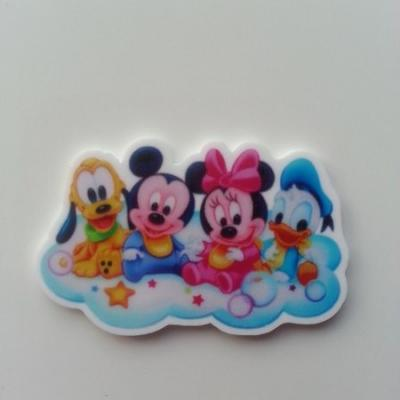 Cabochon plat en résine  baby mickey, minnie, donald, dingo 46*30mm