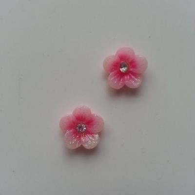 Lot de 2 fleurs  avec strass au centre 12 mm rose pâle