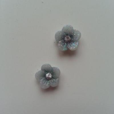 Lot de 2 fleurs  avec strass au centre 12 mm noir
