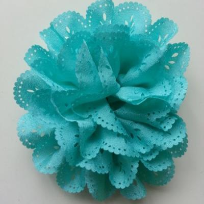 fleur dentelée en tissu vert  10cm