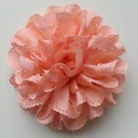 fleur dentelée en tissu pêche   80mm