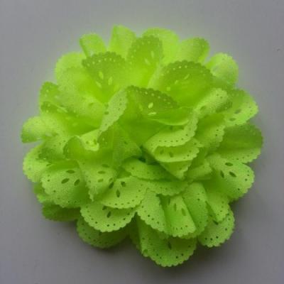 fleur dentelée en tissu vert jaune  80mm