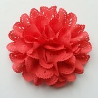 fleur dentelée en tissu  rouge  saumoné 10cm
