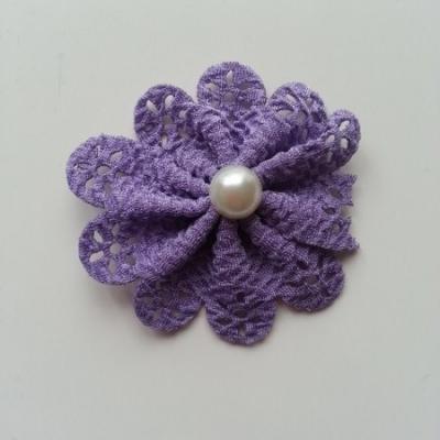 fleur dentellée et perle violet 60mm