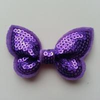Noeud pailleté   65*38 mm violet