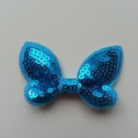 Noeud pailleté   65*38 mm bleu turquoise
