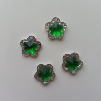 Lot de 4strass fleur  12mm vert et argent