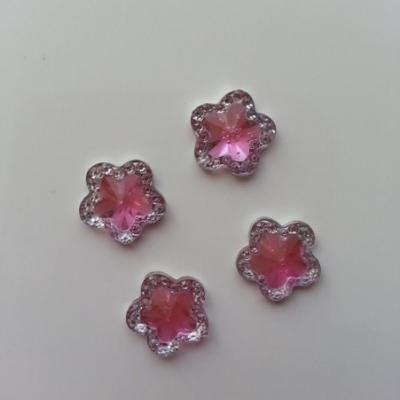 Lot de 4strass fleur  12mm rose et argent