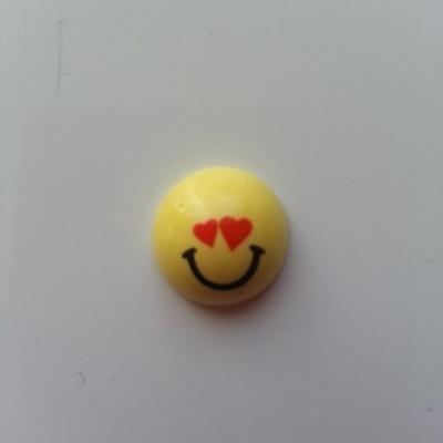 embellissement en résine sourire smiley  jaune 15mm