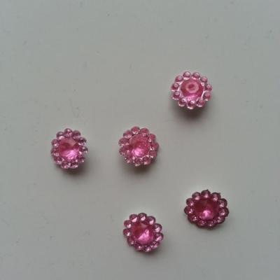 lot de 5  strass ronds  12mm rose pâle
