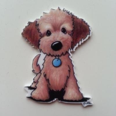 Cabochon chien plat en résine 45*32mm