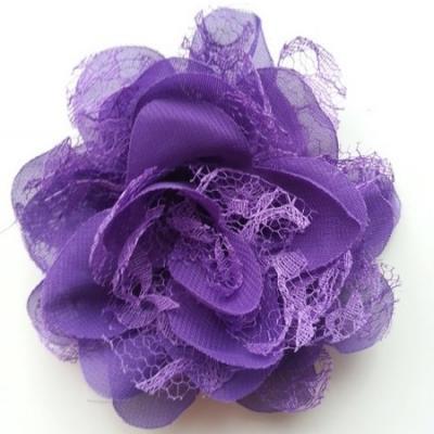 Grande fleur en mousseline  et dentelle 11cm violet