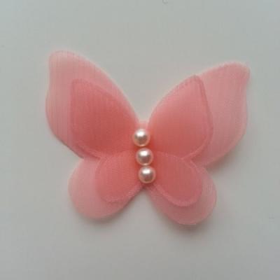 Applique double papillon  voile  et perle   45mm pêche