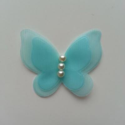 Applique double papillon  voile  et perle   45mm vert d'eau