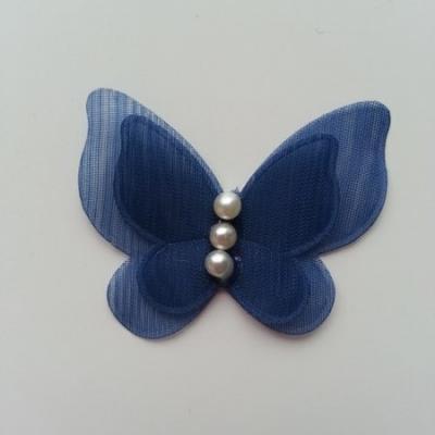 Applique double papillon  voile  et perle   45mm bleu marine