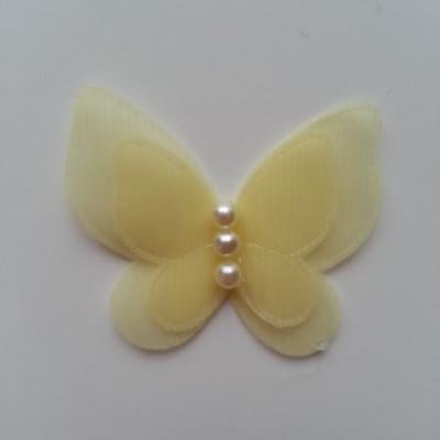 Applique double papillon  voile  et perle   45mm jaune