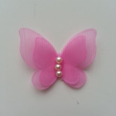 Applique double papillon  voile  et perle   45mm rose