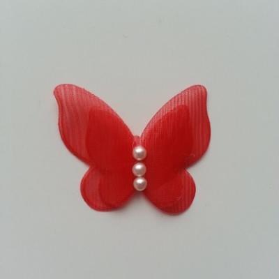 Applique double papillon  voile  et perle   45mm rouge