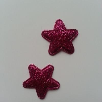 Lot de 2 appliques étoiles matelassées 25*25 mm rose fuchsia  pailletées