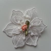 fleur en dentelle et sa mini fleur pêche 80 mm