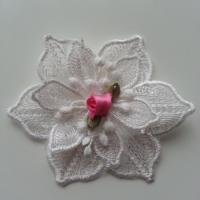 fleur en dentelle et sa mini fleur rose 80 mm