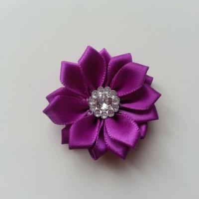 Applique fleur satin strass  35mm violet