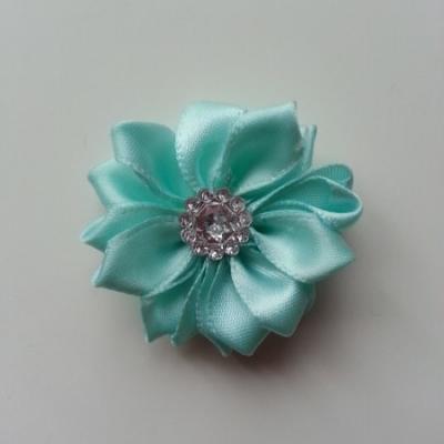 Applique fleur satin strass  35mm vert pastel