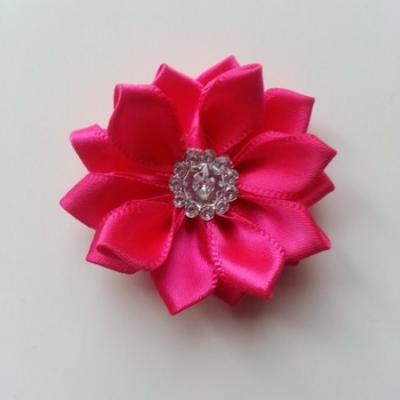 Applique fleur satin strass  35mm rose fuchsia