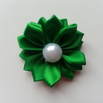 fleur satin demi perle  35mm vert foncé