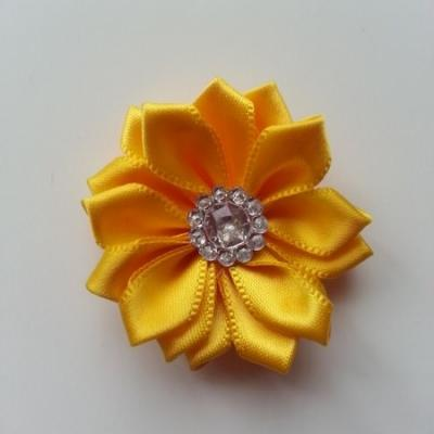 Applique fleur satin strass  35mm jaune