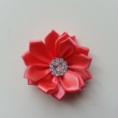 Applique fleur satin strass  35mm saumon
