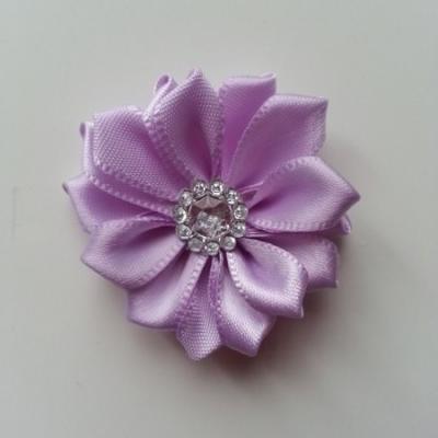 Applique fleur satin strass  35mm mauve