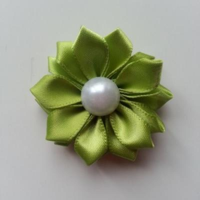 fleur satin demi perle  35mm vert