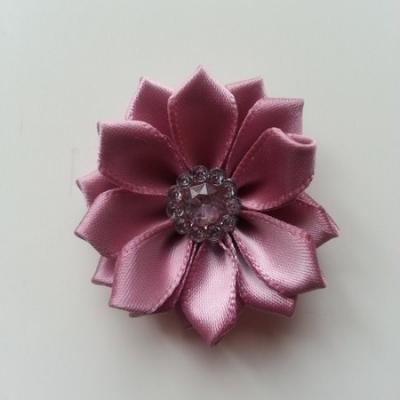 Applique fleur satin strass  35mm vieux rose
