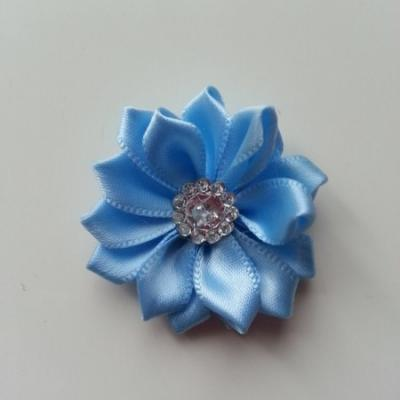 Applique fleur satin strass  35mm bleu ciel
