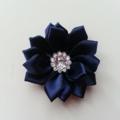 Applique fleur satin strass  35mm bleu marine